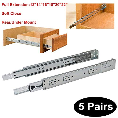5 Pairs Soft Close Rear/Under Mount Drawer Slides Glides DHH32-16 inch Full Extension 3-Folds Ball Bearing;100-pound Capacity