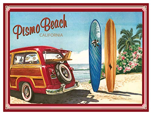 Pismo Beach California Woodie Car & Surfboards Giclee Art Print Poster by Evelyn Jenkins Drew (9