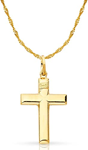 14K Two Tone Gold Jesus Crucifix Cross Pendant with 1.2mm Singapore Chain Chain Necklace