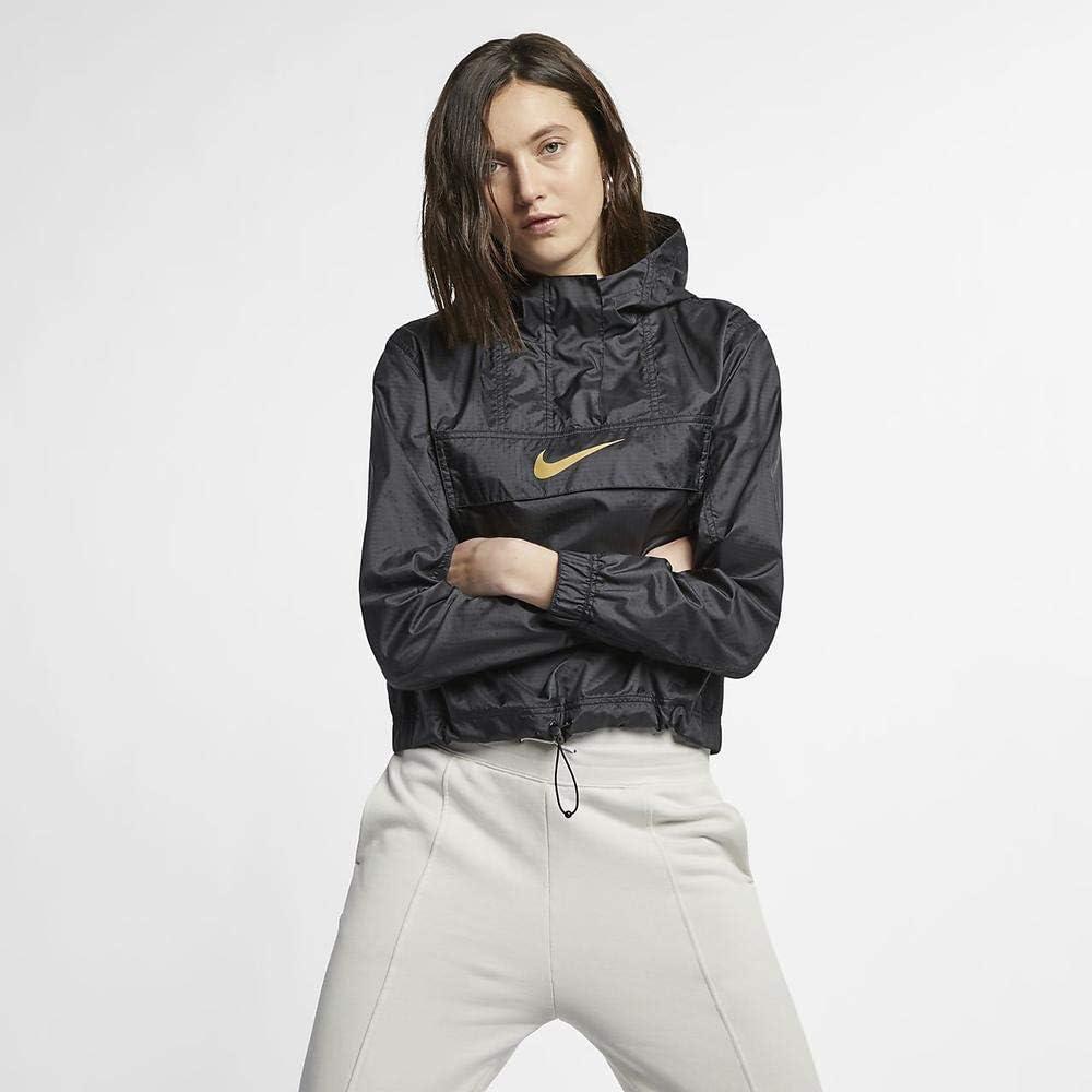 Nike W NSW JKT WVN ANML Veste Femme, BlackBlackClub Gold