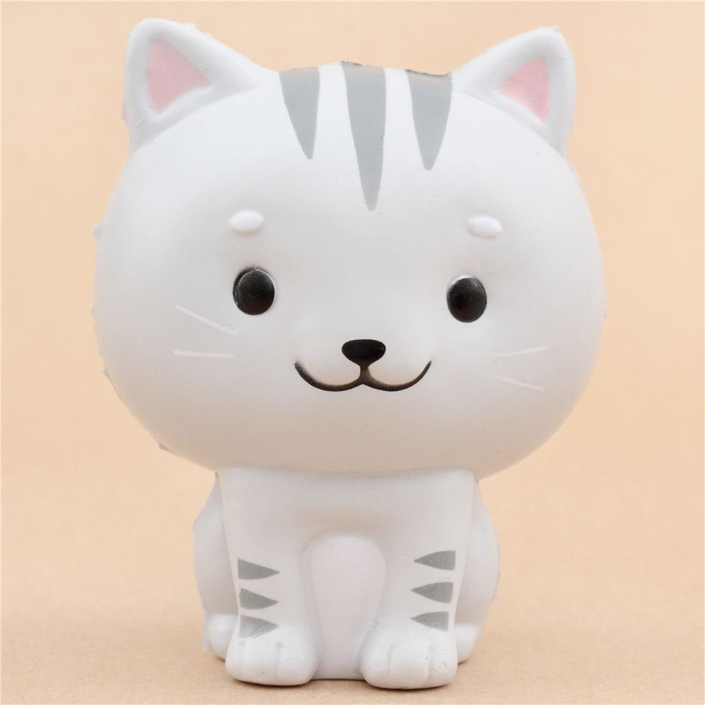 Squishy gatto portafortuna grigio Chawa Little Mafia Lucky Cat kawaii