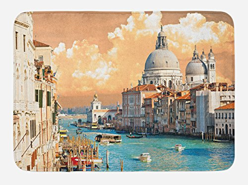 (Ambesonne European Bath Mat, Grand Canal in Venice Italy Historic European Cityscape Town Tower Boho Print, Plush Bathroom Decor Mat with Non Slip Backing, 29.5 W X 17.5 L Inches, Salmon Blue)