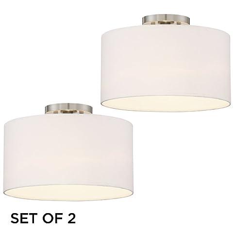Set of 2 adams brushed nickel white drum shade ceiling light set of 2 adams brushed nickel white drum shade ceiling light aloadofball Gallery