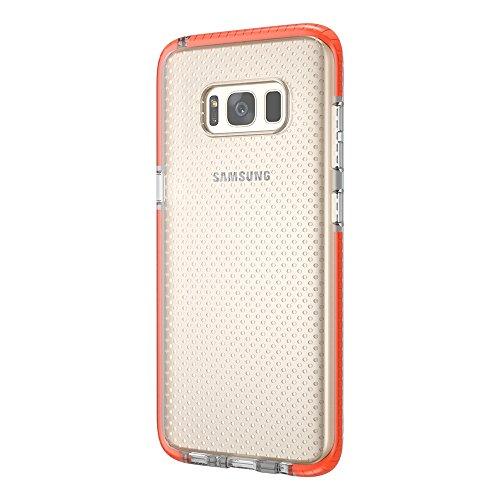 Grandcaser Funda para Samsung Galaxy S8,[Tough Armor] Slim Fit Flexible Goma Silicona TPU Gel Estuche Protectora de Claridad Diseño Lunares Textura Cover Duro Antideslizante Vistoso Parachoques - Tran Transparente Naranja