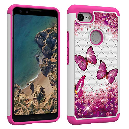 Berry Accessory Google Pixel 3 Case,Pixel 3 Case,Luxury Glitter Sparkle Bling Case,Studded Rhinestone Crystal Hybrid Dual Layer Armor Case for Google Pixel 3 Pink Butterly