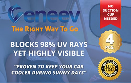 Large Product Image of Car Sun Shade for Side and Rear Window (4 Pack) - Car Sunshade Protector - Protect your kids and pets in the back seat from sun glare and heat. Blocks over 98% of harmful UV Rays - Easy to Install