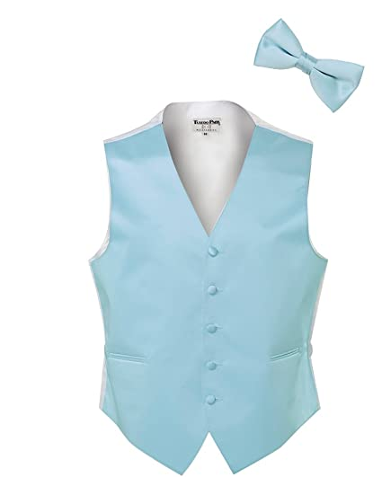 eef3dabe7400 Light Blue Satin Tuxedo Vest and Bow Tie at Amazon Men's Clothing store: