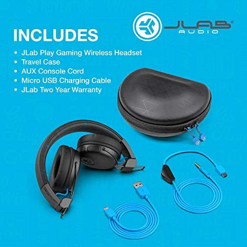 JLab Audio Play Gaming Wireless Headset | 22+ Hour Bluetooth 5 Playtime 60ms Super-Low Latency for Mobile Gameplay | Retractable Boom Mic | AUX Gaming Cord Compatible with Gaming Consoles