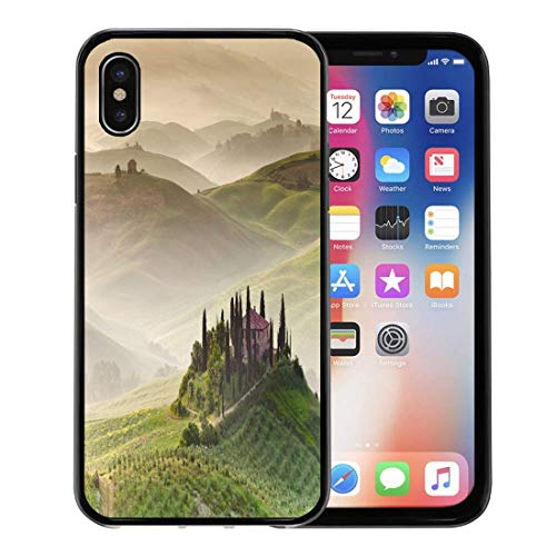 (Semtomn Phone Case for Apple iPhone Xs case,Green Landscape Early Morning on Countryside San Quirico D´Orcia Tuscany Italy Amazing for iPhone X Case,Rubber Border Protective Case,Black)