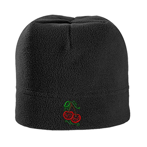 Speedy Pros Food Fruit Mylar Cherries Embroidery Stretch Fleece Beanie, - Cherry Beanie Black