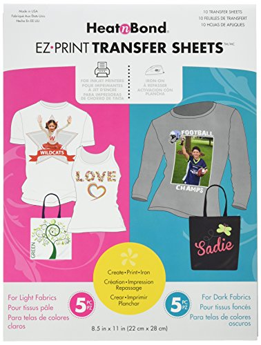 (HeatnBond EZ Print Transfer Sheet Combo Pack, 10 Sheets, 8.5 Inches x 11 Inches )