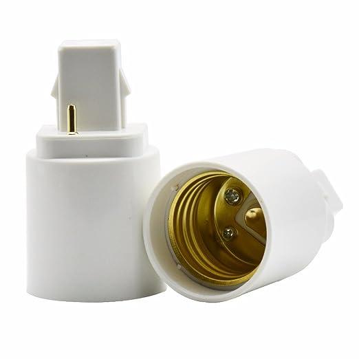 Kit de 2 adaptadores / conversores para bombillas G24 - E27 (compatible solo con bombillas