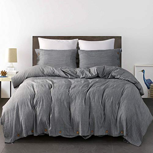 JELLYMONI Grey Duvet Cover Set,3 Piece Luxury Button Bedding Set,Ultra Soft Breathable Hypoallergenic Microfiber, Easy Care,Simple Style,Solid Gray Duvet Cover Queen Size(90