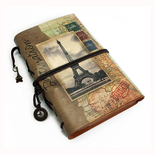 - Ai-life European Style Vintage Leather Journal Notebook, Retro Spiral Bound Loose-leaf Refillable Planner Sketchbook Diary Traveler Notebook with Blank Inserts Zipper Pocket, Size: 185x132x30mm
