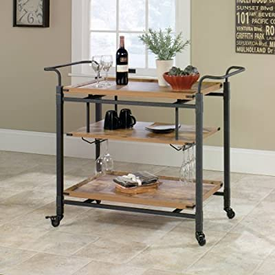 Better Homes and Gardens 3 Shelves Rustic Country Bar Cart, Antiqued Black/Pine