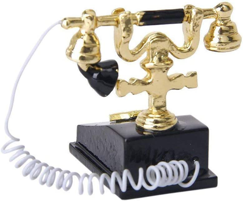 Potelin Dollhouse Retro Telephone Miniature Phone Vintage Telephone Toy Doll House Accessories for Mini Dollhouse Decoration