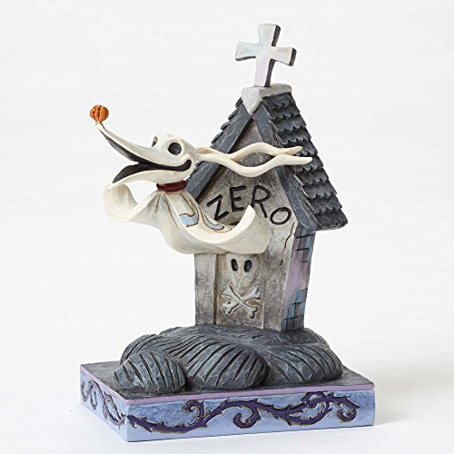 "Disney Traditions by Jim Shore ""The Nightmare Before Christmas"" Zero Stone Resin Figurine, 5"" ()"