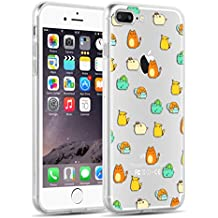 iPhone 8 Plus, iPhone 7 Plus Clear Case, JAMMYLIZARD Invisible Gel Sketch Clear Design Back Cover, PokeCats