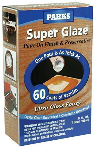 Rust-Oleum Parks Super Glaze, 241352 Ultra Glossy Epoxy Finish and Preservative Kit, Clear 32 Fl Oz - 3 Pack by Rust-Oleum