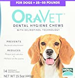 Frontline Merial Oravet Dental Hygiene Chew for Medium Dogs (25-50 lbs), Dental Treats for Dogs, 14 Count