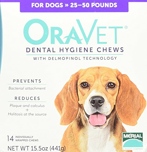 Frontline Merial Oravet Dental Hygiene Chew for Medium Dogs (25-50 lbs), Dental Treats for Dogs, 14 Count by Frontline