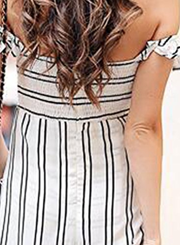 Azbro Mujer Maxi Vestido Fuera de Hombro Abertura Lateral con Rayas Blanco