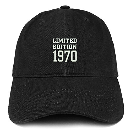 Trendy Apparel Shop Limited Edition 1970 Embroidered Birthday Gift Brushed Cotton Cap - Black