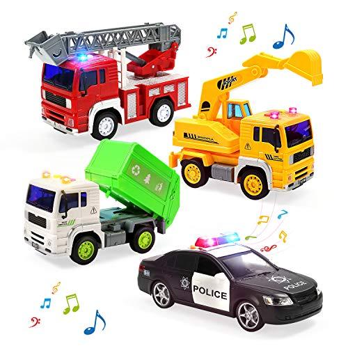 소방차 트럭 경찰차와 쓰레기 트럭으로 소리와 빛 다시 풀 자동차 밀어 갈 차량 마찰 구동 차량 유아 소년과 여자