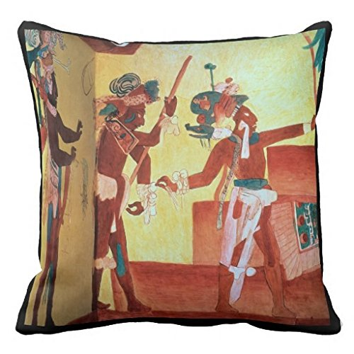 Bonampak Lords In Feathered Costumes Dance In Cele Pillow Case