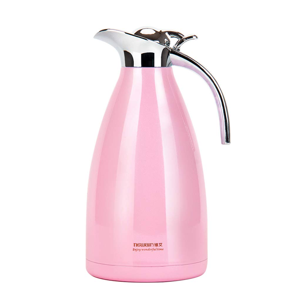 Stainless Steel Vacuum Flask Hot & Cold Tea Coffee Insulated Dispenser Air Pot with Safety 2L (color : Pink, Size : 200ml)