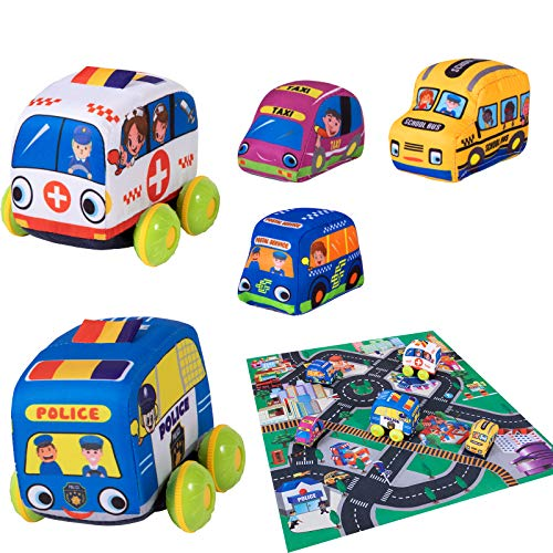 Tovol Zerky Soft Cars with Play Mat for Baby Pull-Back Vehicle Stuffed Car Toy 5 Pcs for Toddlers 1,2,3 Years Old