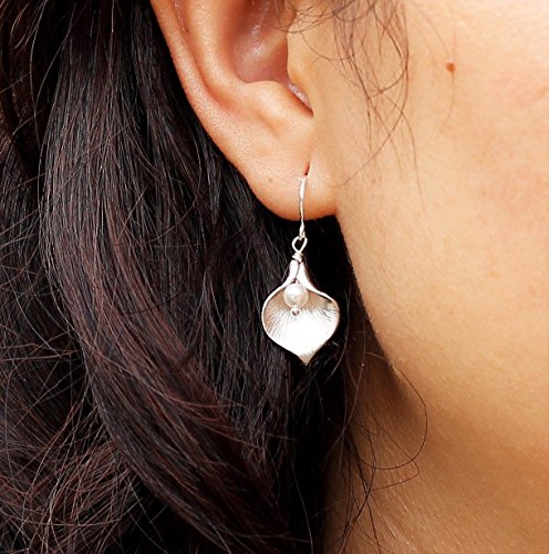Calla Lily Earrings, Delicate Pearl Earrings, Swarovski Crystal Gold, Silver or Rose Gold