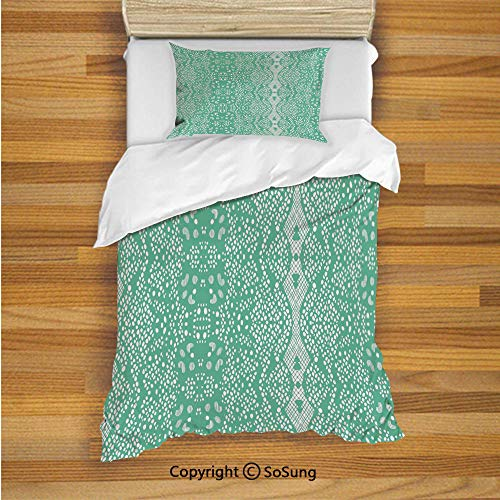 Mint Kids Duvet Cover Set Twin Size, Classic Lace Pattern with Details Shabby Chic Feminine Vivid Vintage Artsy Image 2 Piece Bedding Set with 1 Pillow Sham,Teal Turquoise ()