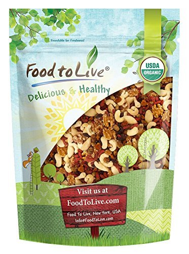 Organic Raw Nut and Berry Superfoods Snack Trail Mix by Food to Live (Non-GMO, Vegan, Unsweetened, Unsulfured) - 1 Pound (Best Non Gmo Foods)