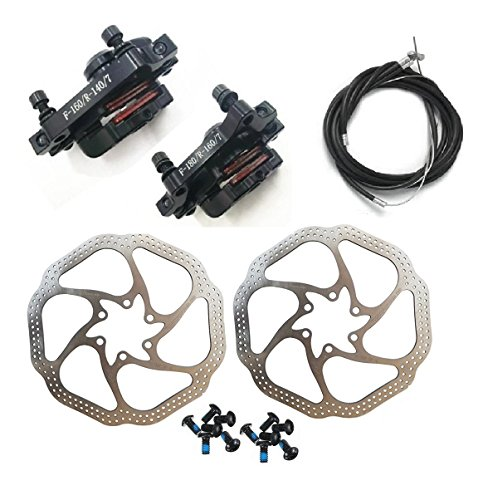 Bike Mechanical Disc Brake - BlueSunshine HS1 Bike Disc Brake Kit - Mountain Bicycle Bike Mechanical Front and Rear 160mm Caliper Rotor BB5 BB7 Whit Bolts and Cable (BB7)