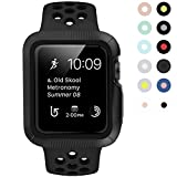 BRG for Apple Watch Case with Band, Shock-proof and Shatter-resistant Protective Case with Silicone Sport iWatch Band for Apple Watch Series 3/2/1 Nike+ Sport Edition 42mm M/L, Anthracite/Black
