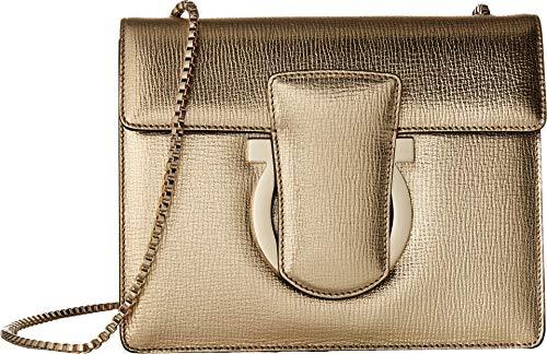 (Salvatore Ferragamo Women's Thalia Small Shoulder Bag, Oro Mekong, Gold, Metallic, One Size)
