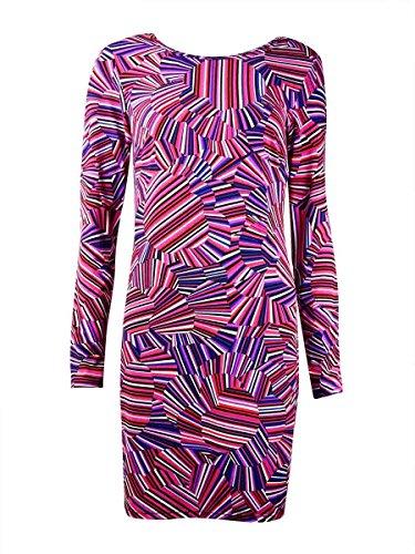 Trina Trina Turk Women's Lewis Rainbow Floral Matte Jersey Long Sleeve Dress, Multi, Small by Trina Turk