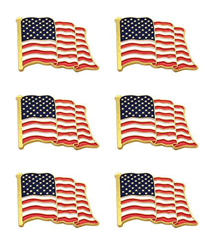American Flag Lapel Pins | 6-USA Metal Enamel Waving Flag Pins Patriotic Badge