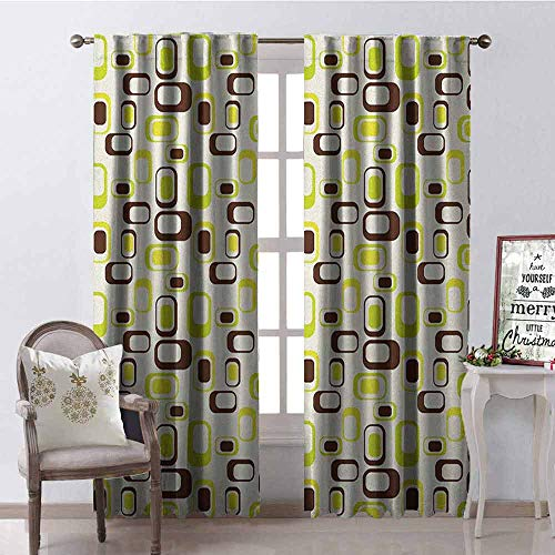 (Gloria Johnson Geometric Wear-Resistant Color Curtain Nostalgic Sixties Vibes Abstract Shapes Vibrant Figures Waterproof Fabric W42 x L84 Inch Apple Green Chestnut Brown Cream)