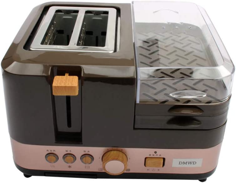 Electric Breakfast Bread Baking Machine 2 Slices Toaster Oven Eggs Steamer Sausage Grill Roaster Omelette Frying Pan Heater