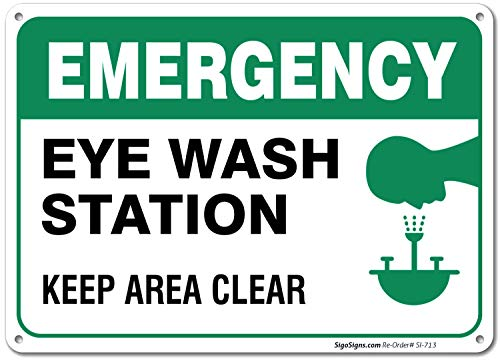 Eye Wash Station Sign, Emergency Sign, 10x7 Rust Free .040 Aluminum, UV Printed, Easy to Mount Weather Resistant Long Lasting Ink Made in USA by SIGO SIGNS - Mount Wash Station