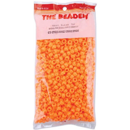The Beadery 6 by 9mm Barrel Pony Bead, Orange, 900-Pieces