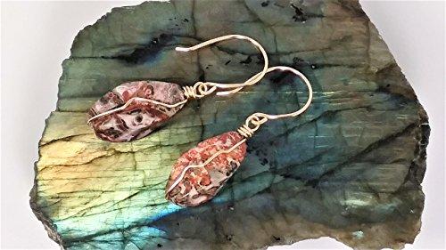 Leopard Skin Jasper Earrings 14k Gold Filled Wire and Hooks - Leopard Jasper Earrings