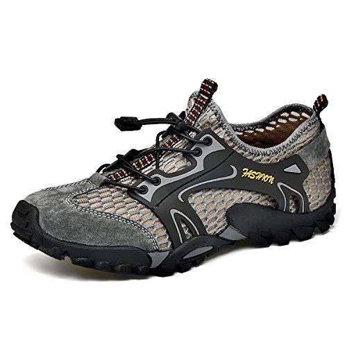 Scarpe Oxford Scarpe da Trekking Impermeabili da Uomo Asciugatura Rapida da Trekking Stivali in Pelle Scamosciata Tessuto Esterno Materiale Esterno Scarpe in Gomma Ideale per Luso Quotidiano Grey