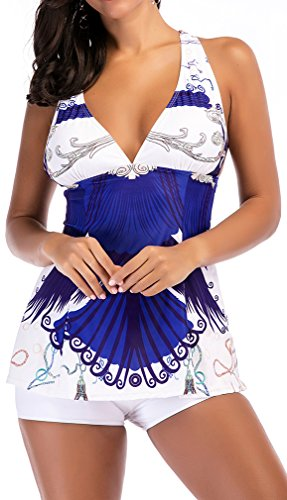 Imilan Women's Tankini Swimsuit Short Two Piece Beachwear Bathing Suit Sets((US 16-18)5XL,White) by Imilan