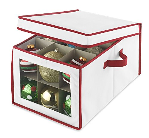 Whitmor Holiday Ornaments Storage Cube with 24 Individual Compartments Transparent Front for Easy Viewing