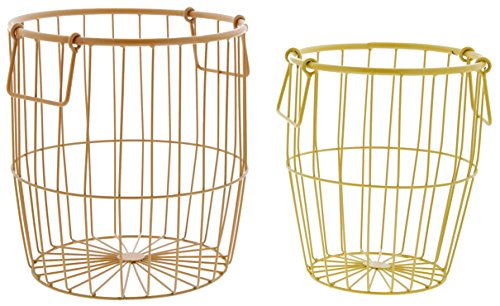 Set of 2 Assorted Mayrich Metal Wire Baskets - Orange & Yellow