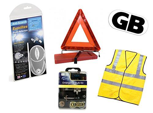EU16-HH Benders Plus European Travel Essentials Pack Reflectors Eurolites Headlight Beam Adaptors