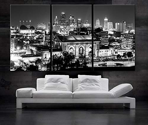 """Original by BoxColors Large 30""""x 60"""" 3 Panels 30""""x20"""" Ea Art Canvas Print Kansas Skyline At Night downtown Buildings Wall Home (Included Framed 1.5"""" Depth)"""